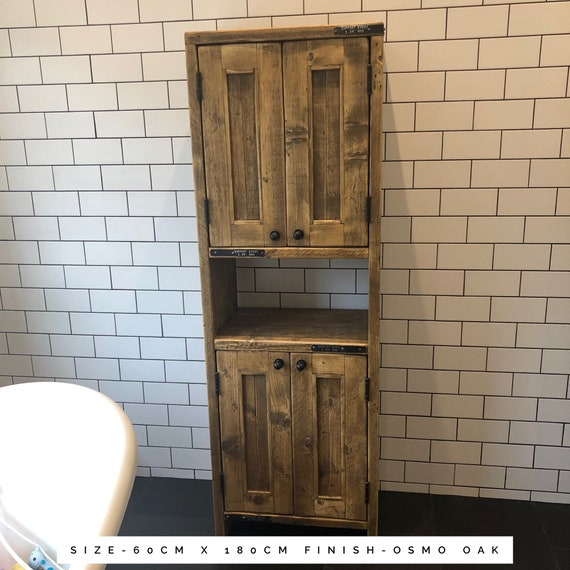 Benllech XL - Reclaimed Wood tall Vanity | Wood Bathroom Vanity Cabinet | Bathroom Storage  Rustic | Rustic Bathroom Cabinet