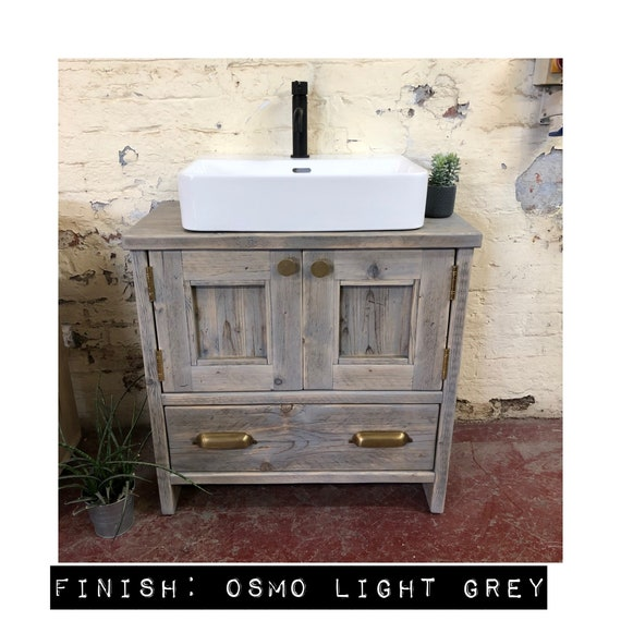Hexham-Reclaimed Bathroom Vanity Cabinet.     Wooden Vanity Bathroom Rustic, Farmhouse Bathroom Vanity Reclaimed Wood
