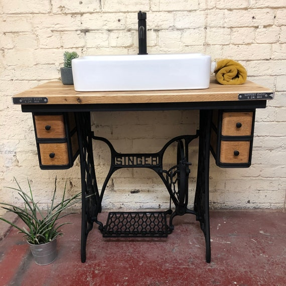 SOLD Vintage Singer cast Iron Washstand complete