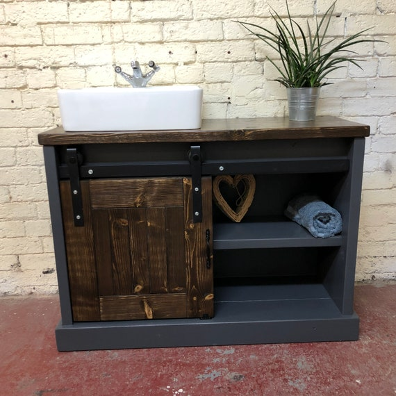 Boston : Vanity with Sliding Barn Door,      Vanity with Sliding Door, Single Bathroom Vanity Barn Door, Rustic Wood Bathroom Vanity Cabinet