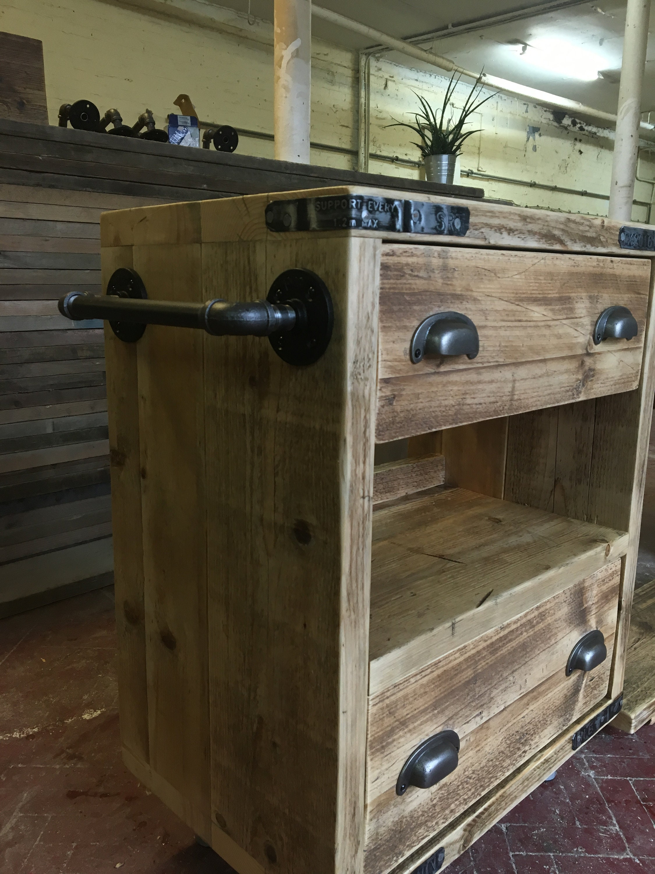 Gaddesden Rustic Wooden Bathroom Vanity Unit Reclaimed