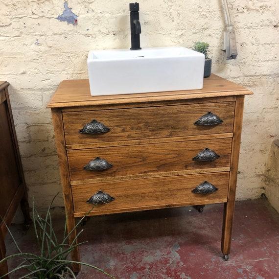 Vintage Oak Bathroom Vanity Including Hampton Basin  | Oak Vanity | Vintage Vanity |