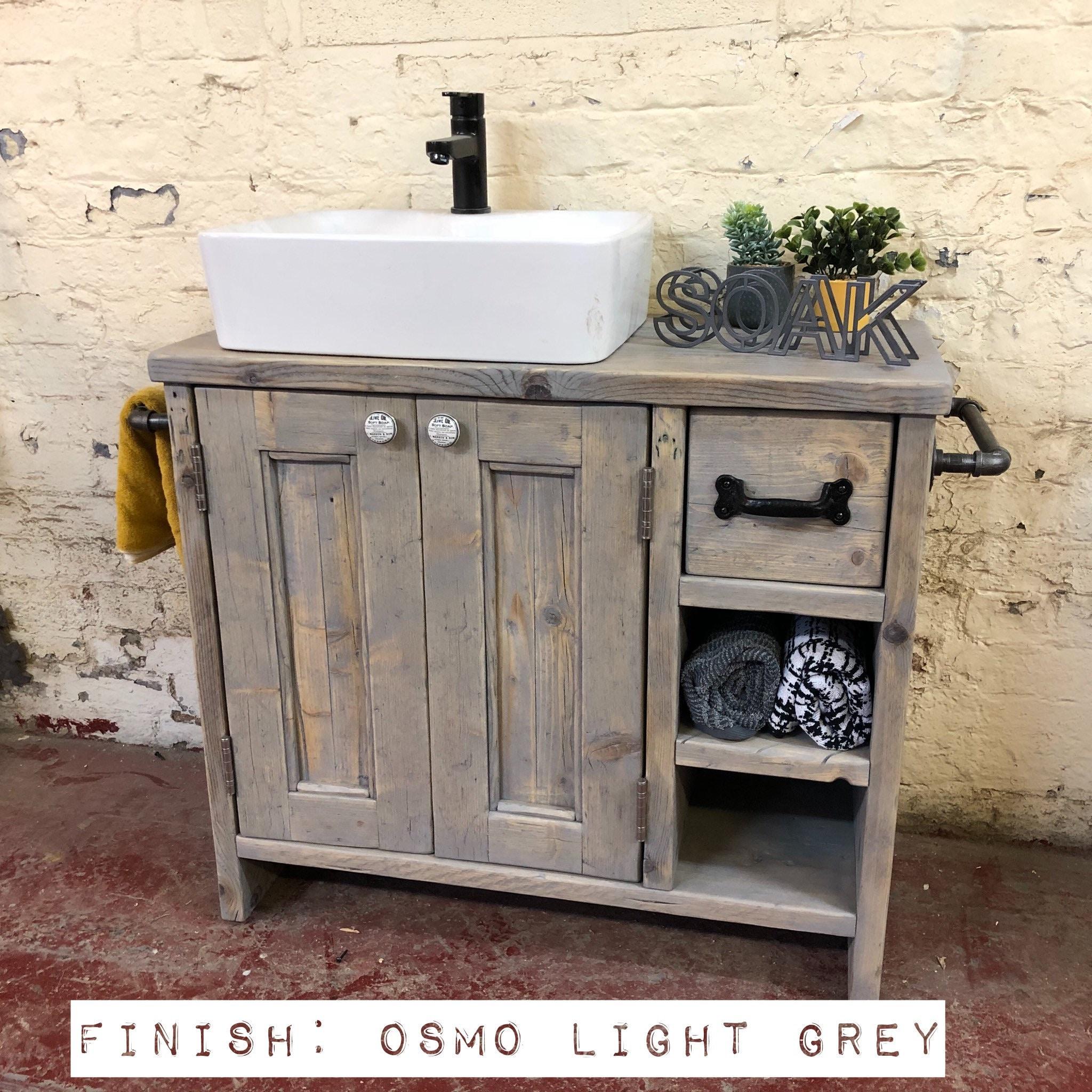 Edinburgh Reclaimed Wood Bathroom Vanity Wood Farmhouse Bathroom Vanity For Sink Rustic Wood Bathroom Vanity With Drawers Wash Stand