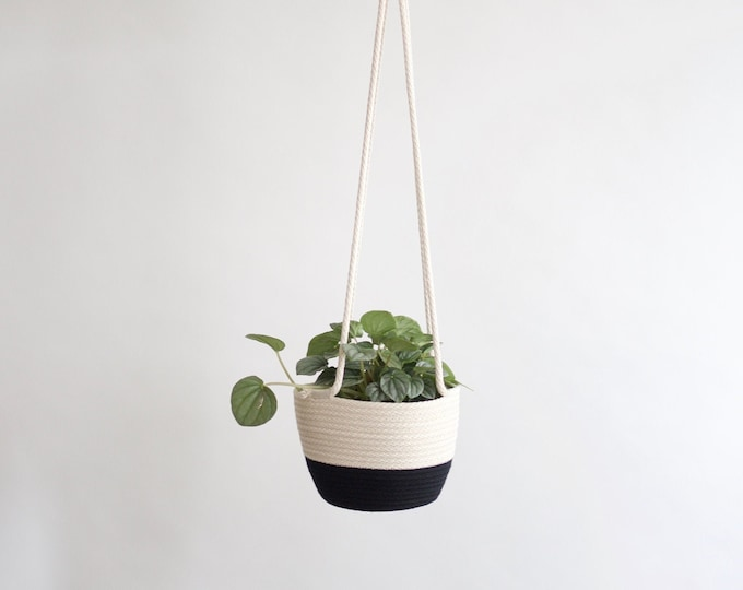 Black and White Hanging Planter