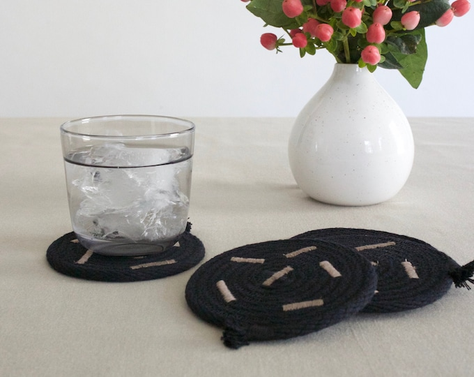 Black Abstract Rope Coasters