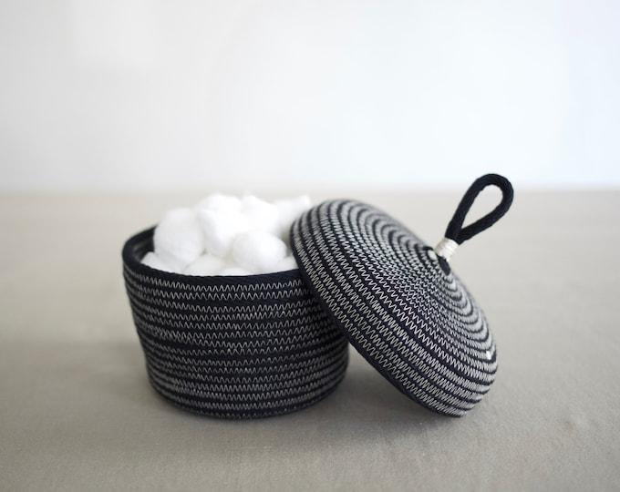 Black Rope Basket with Lid