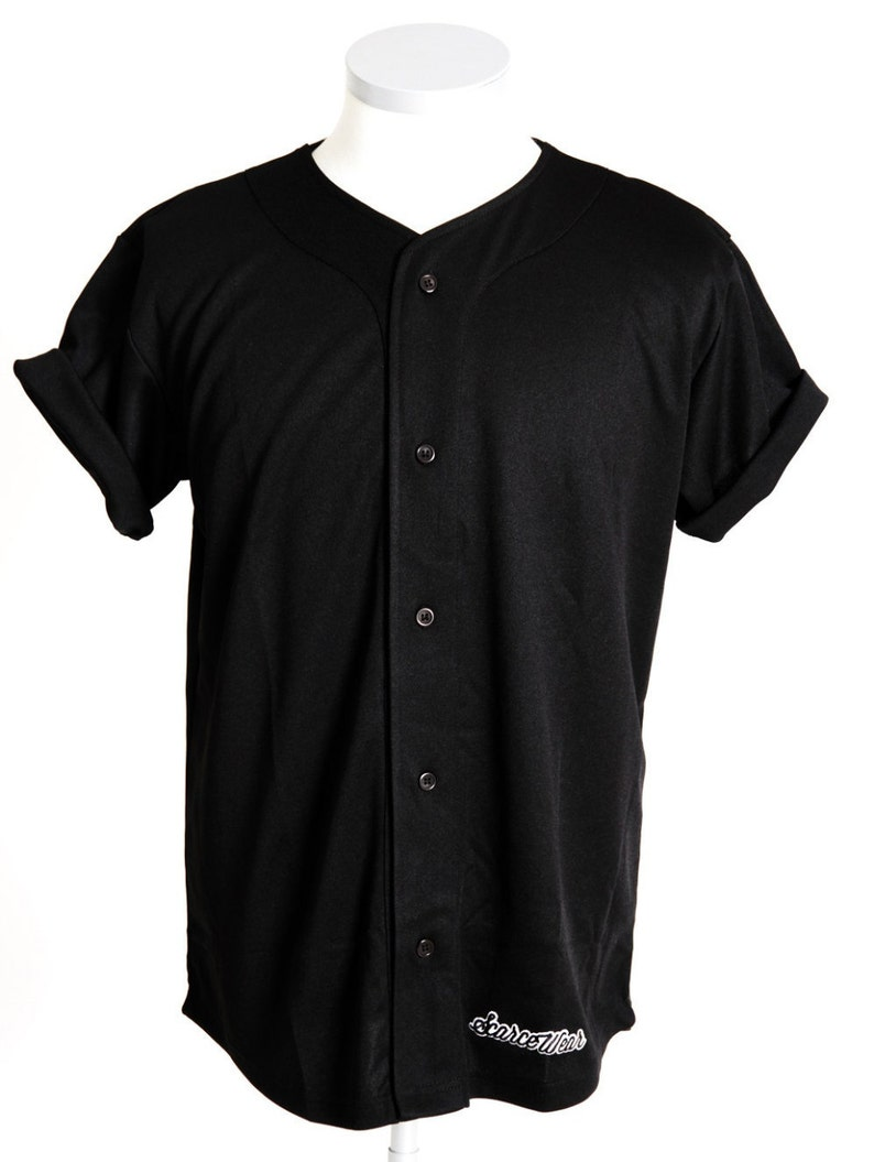 wholesale dealer 0f66c bc01c Scarcewear Signature plain black baseball jersey shirt size S-4xl