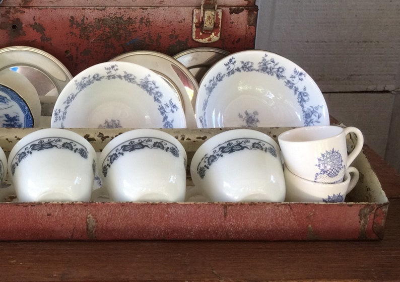 Two French Country Cereal Bowls Arcopal Made in France Blue Flowers on White Glenwood Pattern
