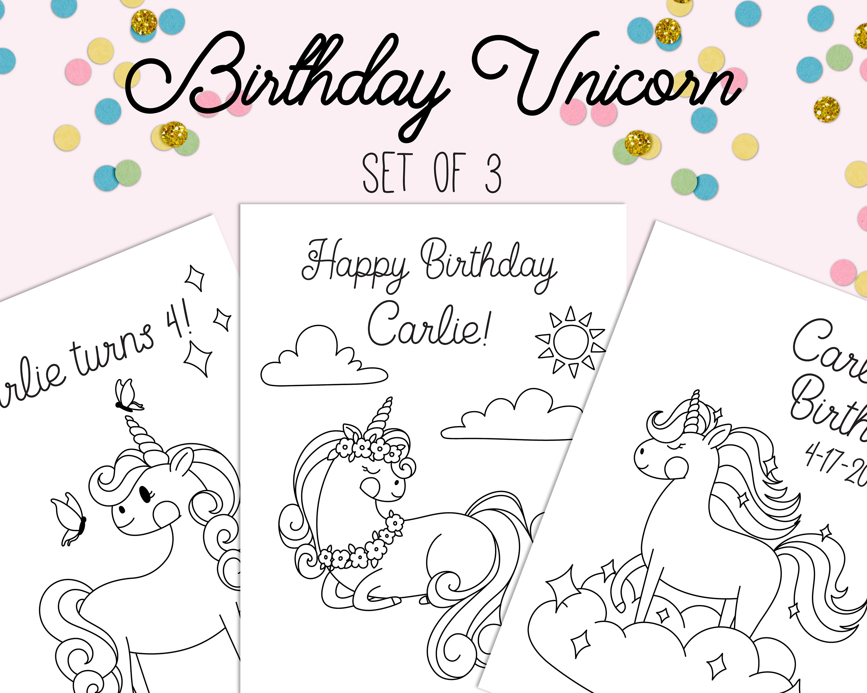 Unicorn Coloring Pages   Unicorn Birthday   Printable Coloring Page    Unicorn Party   Instant Download