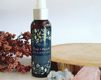 Face and Body Mist, Rose + Neroli Meditation Mist, Yoga Mist, Aura Cleansing Mist, Relaxation Gifts, Birthday day Gifts, crystal infused
