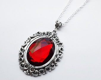 1680fbdd21a955 Gothic Vampire Inspired Silver Tone Bloodlust Jewel Pendant Necklace