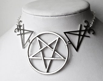 Sinful Gothic Occult Silver Tone Necklace