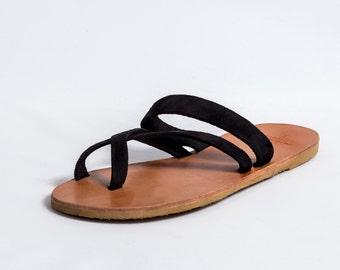 Véritable cuir grec sandales totalement à la main de haute qualité avec Suède sangles Womens grecque l'été ballerines chaussures livraison gratuits!