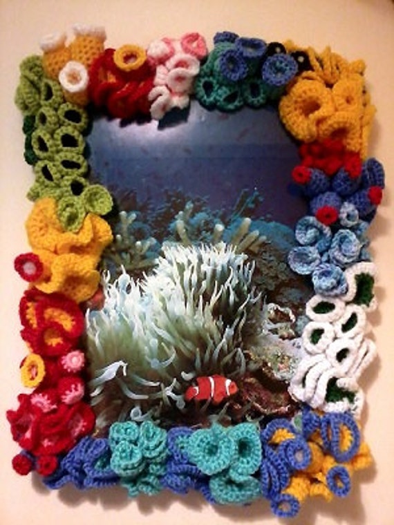 Wall picture - bright and colourful picture in the crochet coral reef  frame, vivid home décor, Crochet underwater animals habitat, nemo