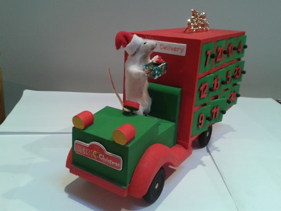Taxidermy Mouse On His Christmas Advent Truck Etsy