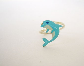 723cb9be3 Dolphin Ring - Dolphin Jewelry - Fish Ring - Adjustable Ring - Dolphin Gift  - Fish Jewelry - Silver Enamel Ring - Sea Animal Jewelry