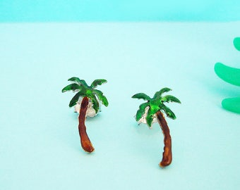 Palm Tree Earrings - Tropical Earrings - Palm Tree Jewelry - Beach  Earrings - Palm Tree Gifts - Enamel Silver - Womens Stud Earrings