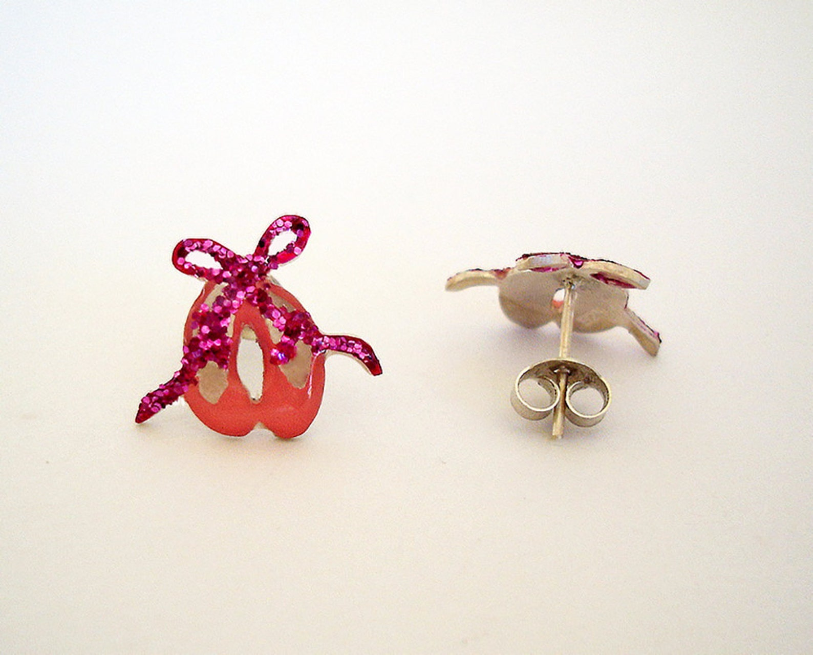 ballerina earrings - ballet shoes earrings - ballerina jewelry - enamel earrings studs - ballerina gift - girls sterling silver