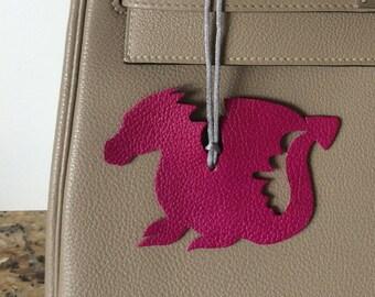 Leather Dragon Bagcharm with Silk Cord