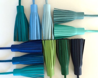 Leather Tassel Bag charm (Greens & Blues)