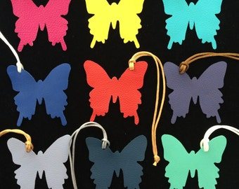 Leather butterfly bagcharm on silk or nylon cord