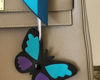 """Double-Sided Leather """"Snap"""" Butterfly Bagcharm"""