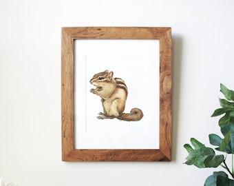 Chipmunk Wall Art, Woodland Nursery Art, Chipmunk Art Print, Woodland Animal, Woodland Creature, Woodland Nursery Prints, Animal Nursery Art