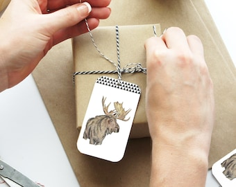 Christmas Tags with Twine, Set of 4 Gift Tags, Gift Tags Set, Happy Holidays Tags, Christmas Gift Wrap, Handmade Tags, Christmas Packaging