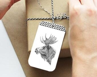 Christmas Hang Tags, Moose Tags, Holiday Labels, Holiday Hang Tags, Gift Labels, Christmas Favor Tags, Cute Gift Tags, Holiday Tags, Tags