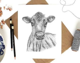 Cow Art, Farm Animal Art Print, Cow Decor, Cow Print, Cow Artwork, Animal Art, Farm Art, Cows Wall Art, Farm Wall Art, Jersey Cow Art, Cows