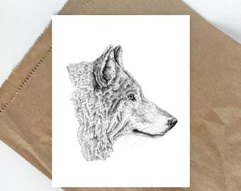 Wolf Drawing | Wolf Print | Woodland Animal Art | Wolf Decor | Wolf Art Print | Black and White Animal Prints | Wolf Art | Wolf Animal Print