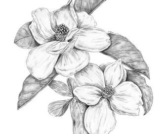 Magnolia Flower, Flower Art Print, Magnolia Print, Minimalist Flower, Magnolia Art Print, Black and White Art, Flower Art, Flower Print