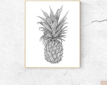 Pineapple Art, Fruit Art, Fruit Print, Food Art, Pineapple Print, Fruit Art Print, Pineapple Wall Art, Pineapple Decor, Pineapple Art Print
