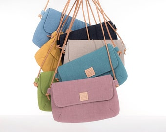 Colorful small crossbody bags for summer, small linen crossover purse with leather strap.