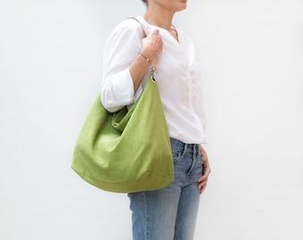 Lime green linen hobo. Comfy bag with leather strap for summer. Oversize shoulder bag. Lightweight linen handbag.
