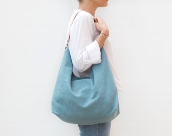 Linen and leather hobo bag . Summer lightweight hobo bag in bluish green. Casual hobo with leather strap.
