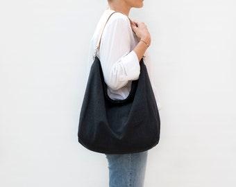 Large black hobo bag with leather strap. Linen hobo bag for summer. Casual style shoulder bag for everyday.