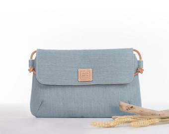 Blue linen crossbody bag, Crossover bag with flap, Small ang lighyweight bag for everyday, Linen purse, Leather strap.