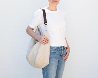 Large linen hobo bag for summer. Light bag in natural color with leather strap