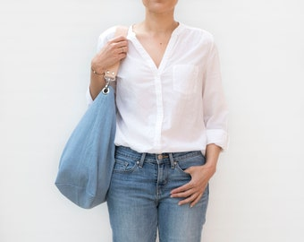 Lightweight and large blue hobo bag. Linen fabric shoulder bag with leather strap. Daily hobo purse at work.