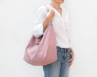 Pink linen hobo handbag. Comfy shoulder bag for woman. Large purse of pink fabric and leather handle.