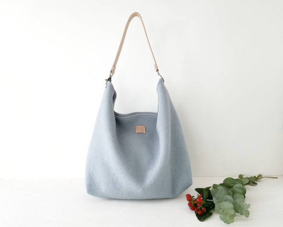 Black Friday Sale Light Blue Shoulder Bag Large Hobo Etsy