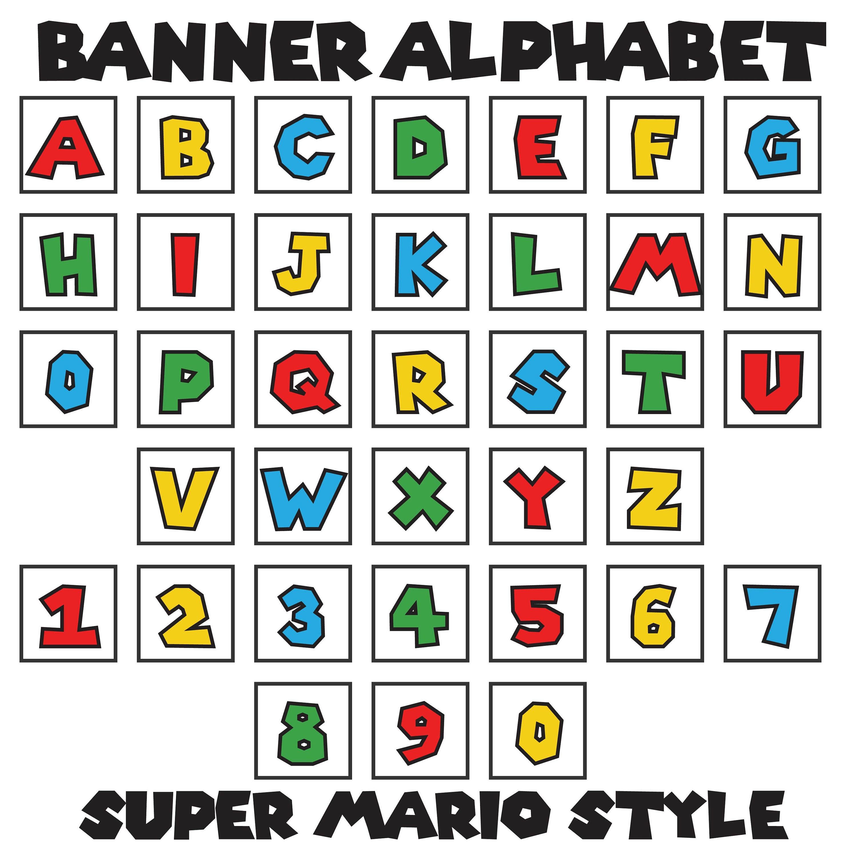 Mario-Stil Buchstaben A-Z Zahlen 0-9 75 Platz   Etsy