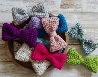 hair bow/ crochet hair bow/ hair accessory/kids bow/ bun bow