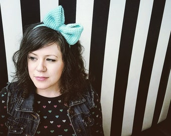 Headband/ Kiki headband/ anime inspired/ anime headband/ bow headband/ crochet headband/ Tunisian crochet
