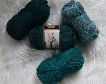 Yarn Destash / Thick and Quick /  Hometown USA / Teal Yarn / Turquoise Yarn  / Montpelier Peacock / Yarn Sale / 40% off