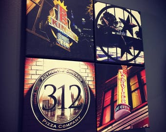 Nashville Signs and Landmarks | Custom Canvas Collage | Downtown | Lower Broadway | Midtown | East Side