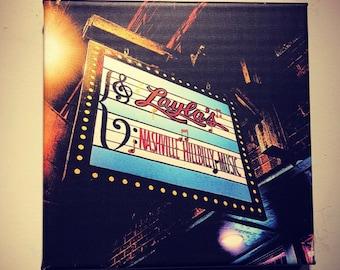 Layla's | Nashville Bars | Honky Tonk | Broadway | Metal | Canvas Print | Ready to Hang | Free Shipping