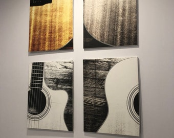 Four Panel Guitar Art | Canvas Print | Wall Art | Faded Black and White Photography | Ready to Hang | Free Shipping