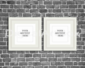 Download Free Printable Set of Two White Square Frame Mockup, INSTANT DOWNLOAD PSD Template